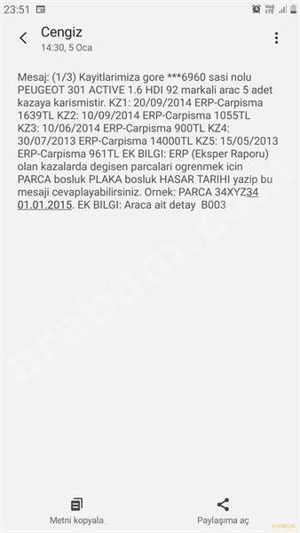 Sahibinden Peugeot 301 1.6 Hdi Active 2013 Model İstanbul 145.000 Km Kahverengi