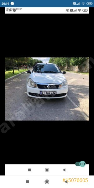 Sahibinden Renault Symbol 1.5 Dci Authentique 2012 Model İstanbul 219.000 Km Beyaz