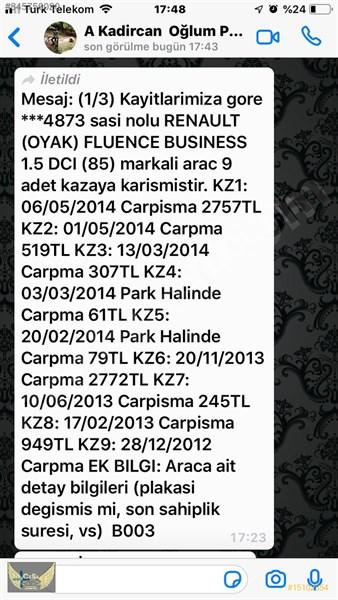 Galeriden Renault Fluence 1.5 Dci Business 2012 Model İstanbul 180.000 Km Gri